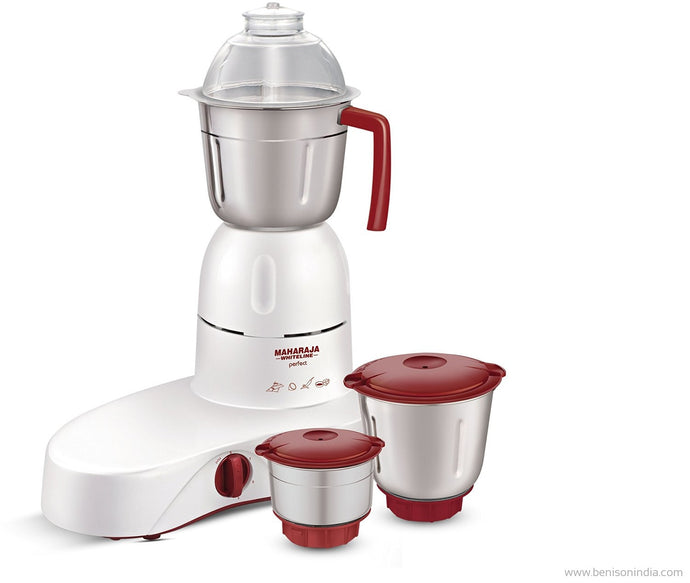 Maharaja Whiteline Perfect Happiness 500-Watt Mixer Grinder (White and Red)-Maharaja Whiteline-Benison India