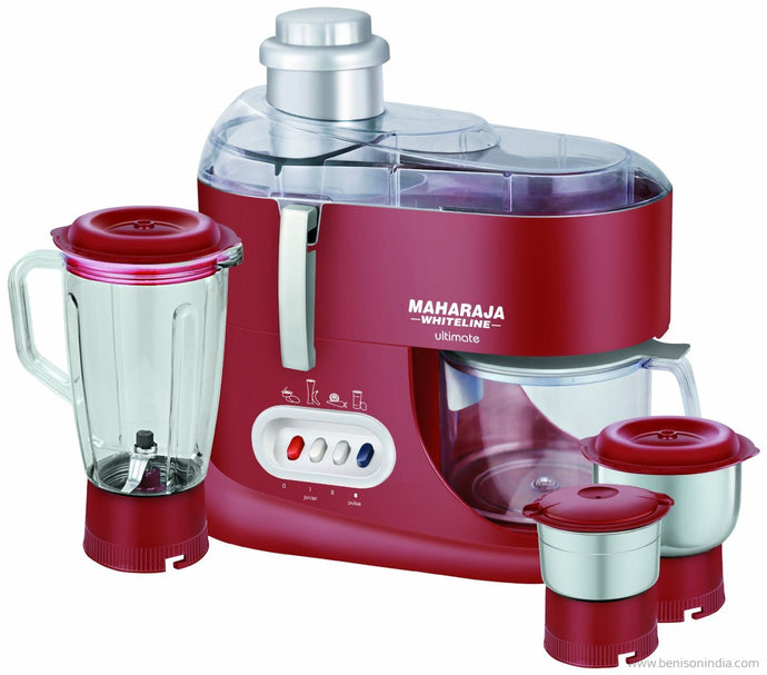 Maharaja Whiteline Ultimate Red Treasure JX-101 550-Watt Juicer Mixer Grinder (Red/Silver)-Maharaja Whiteline-Benison India