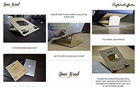 Minimalist Wooden Laptop Stand for Office, Desk , Home , Wellness, Ergonomic, Adjustable |Folding | Ventilated for Notebook/ iPad / Tablets | Reduce Back and Neck Pain-Electronics-DEARWOOD-Benison India