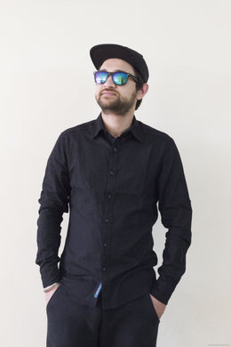 Trendy Formal Cotton Shirts for Men-Black-Men's Clothing-LeebaZone-Benison India