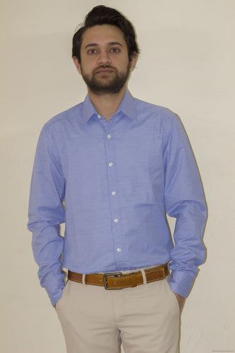 Trendy Formal Cotton Shirts for Men-Blue-Men's Clothing-LeebaZone-Benison India