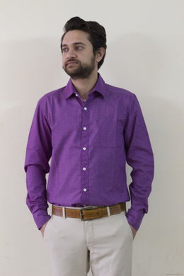 Trendy Formal Cotton Shirts for Men-Purple-Men's Clothing-LeebaZone-Benison India
