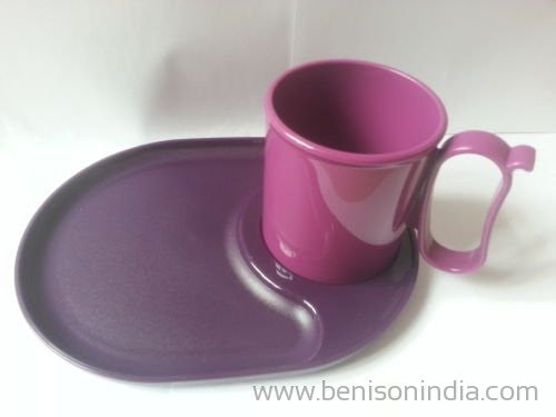 Tupperware Snackatizer / Snack plate / Tray + Light Purple Mug ( 1 Plate + 1 Mug)-Tupperware-Benison India
