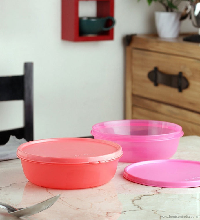 Tupperware SS Bowl, Pink, 1L, 2 Pcs-Tupperware-Benison India
