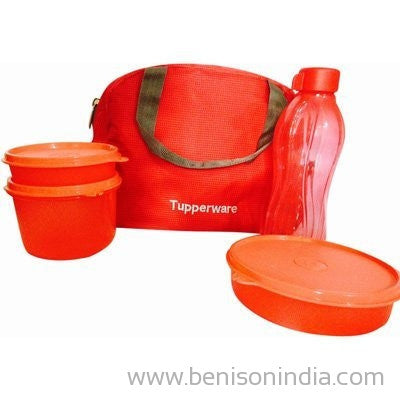 Tupperware Tupsling Sling-A-Bling Lunch Set With Designer Bag (Set of 4) (Red)-Tupperware-Benison India