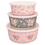 GreenGate Bamboo Round Box Marley Pale Pink Set Of Three Largest H 7,8 cm D 16,6 cm