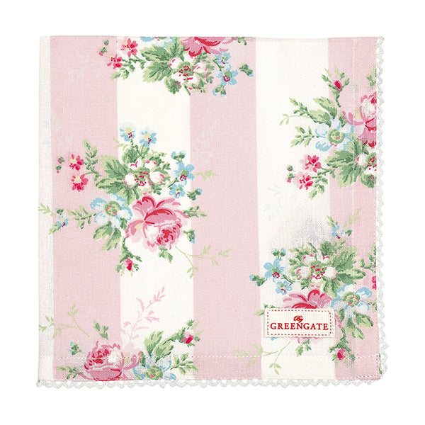 GreenGate Cotton Napkin with Lace Marie Pale Pink 40 x 40cm