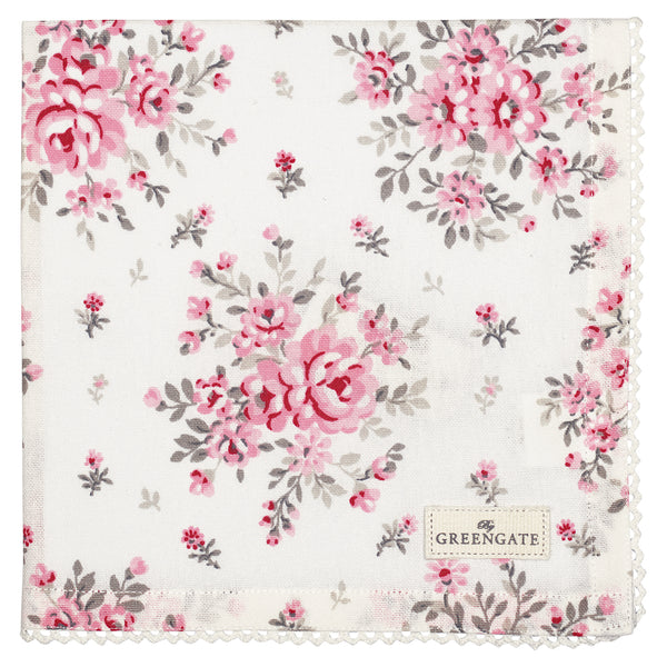 GreenGate Cotton Napkin with Lace Flora White 40 x 40 cm