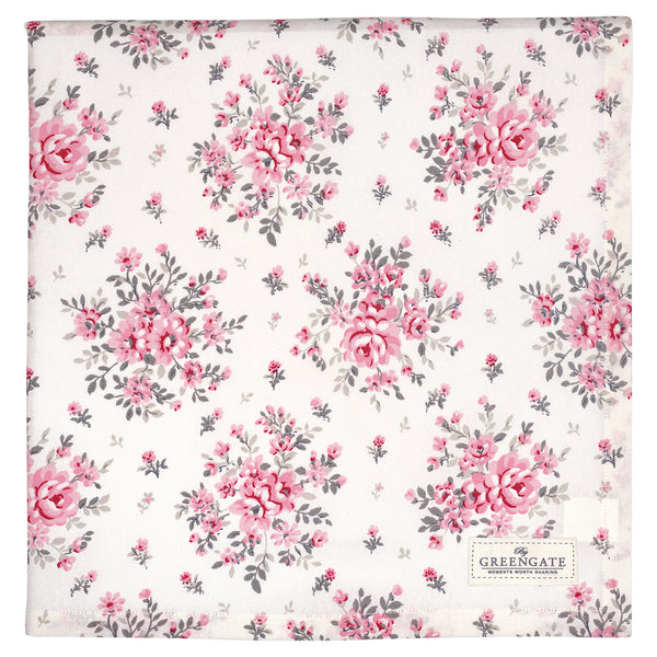 GreenGate Cotton Tablecloth Flora White 140 x 140 cm