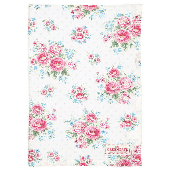 GreenGate Cotton Tea Towel Tess White 50 x 70 cm