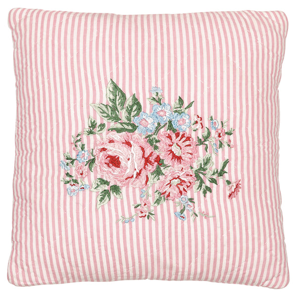 GreenGate Cotton Quilted Cushion Cover Marley Pale Pink With Embroidery 40 x 40 cm