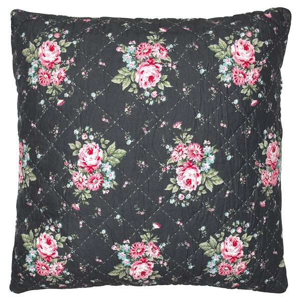 GreenGate Cotton Quilted Cushion Cover Marley Dark Grey 50 x 50 cm
