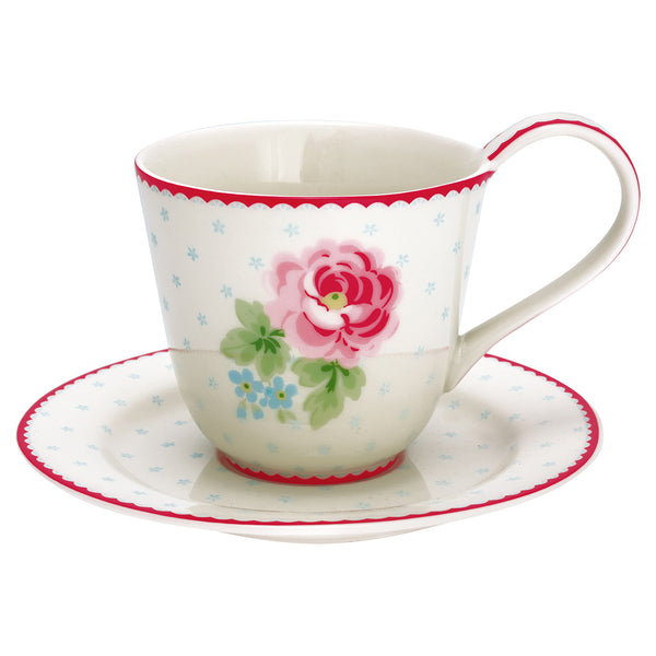GreenGate Stoneware Cup and Saucer Lily White H 9 cm