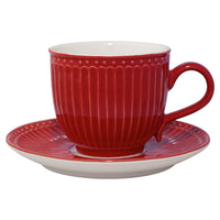 GreenGate Stoneware Cup And Saucer Alice Red H 8.5 cm