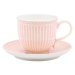GreenGate Stoneware Cup And Saucer Alice Pale Pink H 8.5 cm
