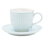 GreenGate Stoneware Cup And Saucer Alice Pale Blue H 8.5 cm