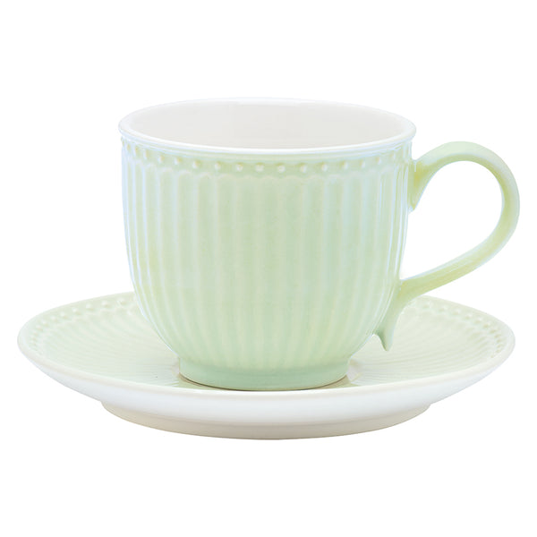GreenGate Stoneware Cup And Saucer Alice Pale Green H 8.5 cm