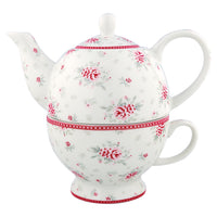 GreenGate Stoneware Tea For One Flora White H 17 cm