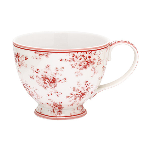 SECONDS OUTLET #6 - GreenGate Stoneware Teacup Abelone Raspberry H 9 cm D 11.5 cm