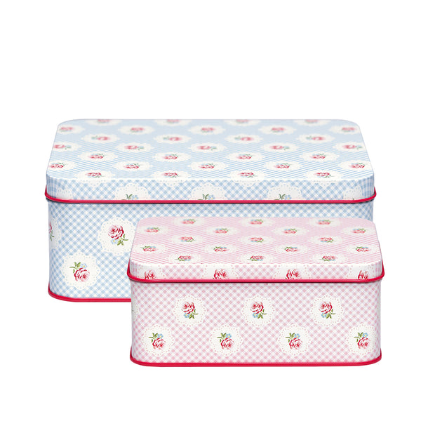 GreenGate Tin Rectangular Box Tammie Pale Blue Set Of 2 (largest 7 x 13 x 18cm)