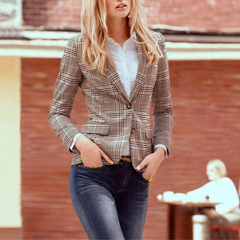Amoin Women Plaid Blazer