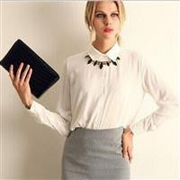 American Long-sleeve Chiffon Shirt Blouse