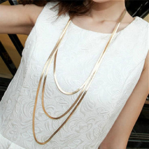 Three Layer Metal Button Accessories New Long Necklace Sweater Chain Female Luxury Decoration Chain