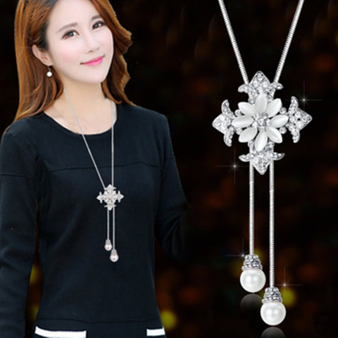 Accessories elegant crystal beaded necklace design long necklace female vintage