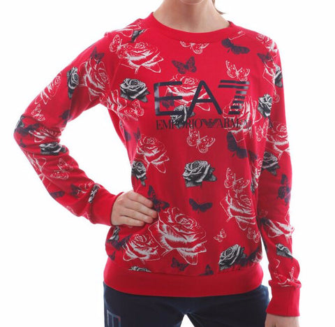 emporio armani ea7 print sweater red