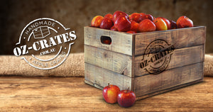 Oz-Crates home page, wooden crate filled with apples