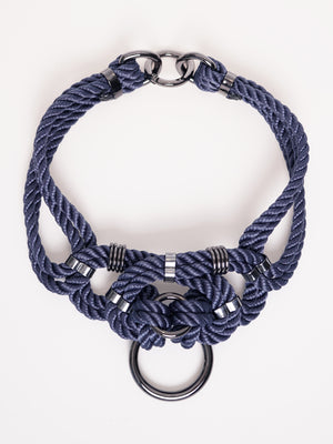 'MEGAMI' CHOKER WITH DETACHABLE SELF-TIE HARNESS *NAVY