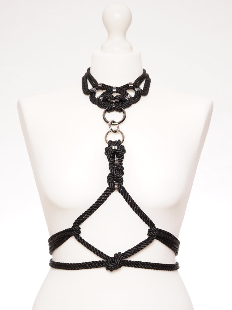 'MEGAMI' CHOKER WITH DETACHABLE SELF-TIE HARNESS *BLACK