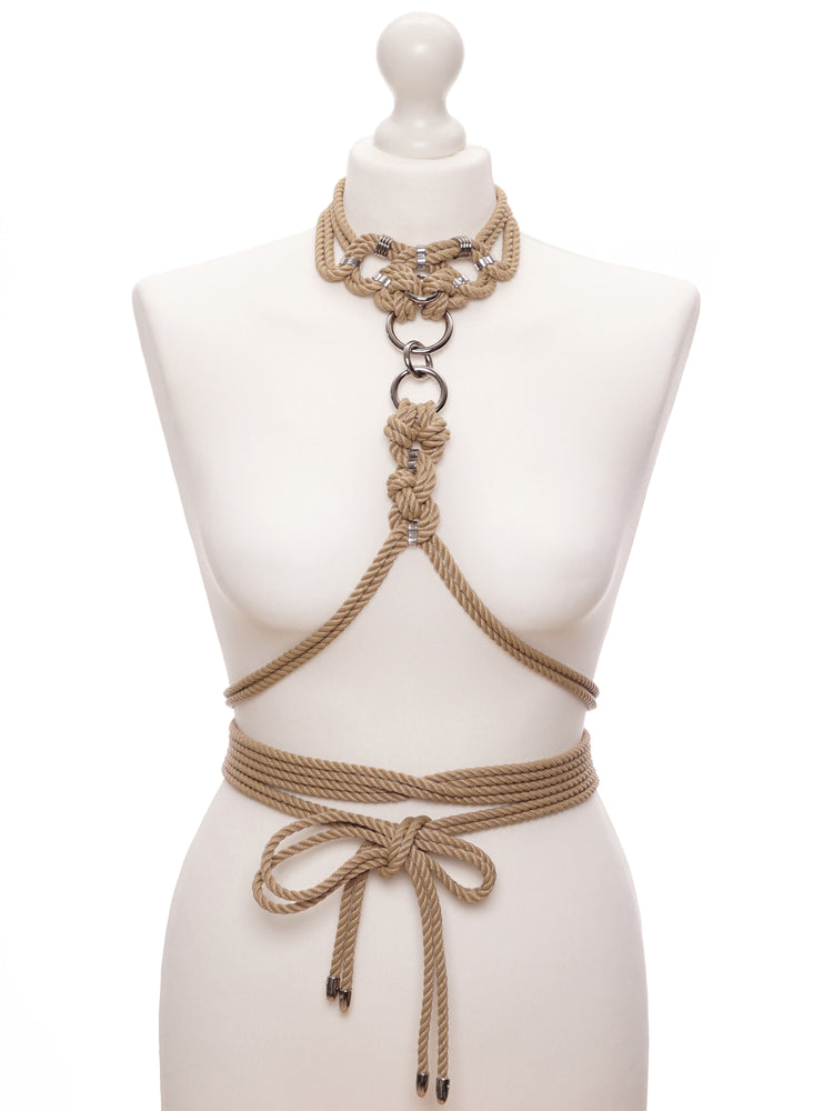 'MEGAMI' CHOKER WITH DETACHABLE SELF-TIE HARNESS *BEIGE
