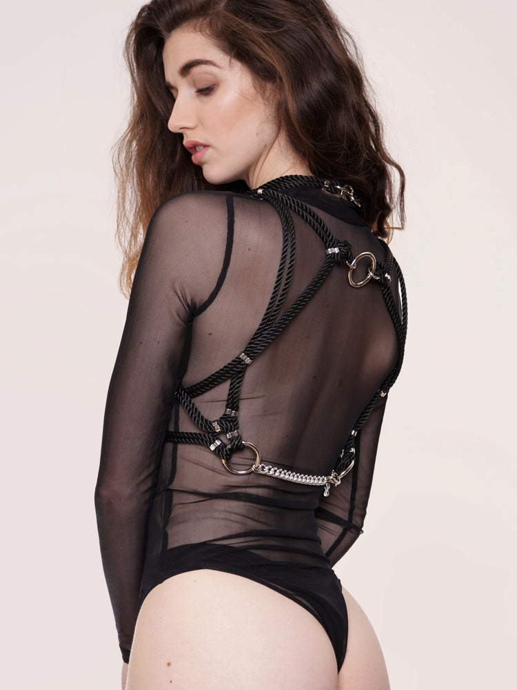 'MUNE' HARNESS WITH DETACHABLE CHOKER *BLACK