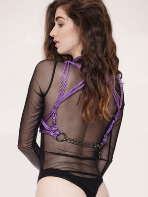 'MUNE' HARNESS WITH DETACHABLE CHOKER *LILAC