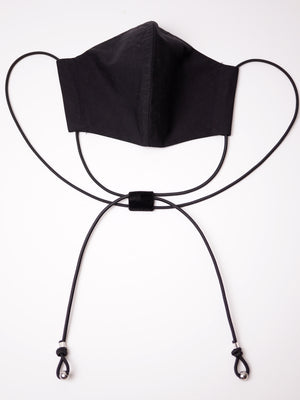 TIED COTTON FACE MASK BLACK