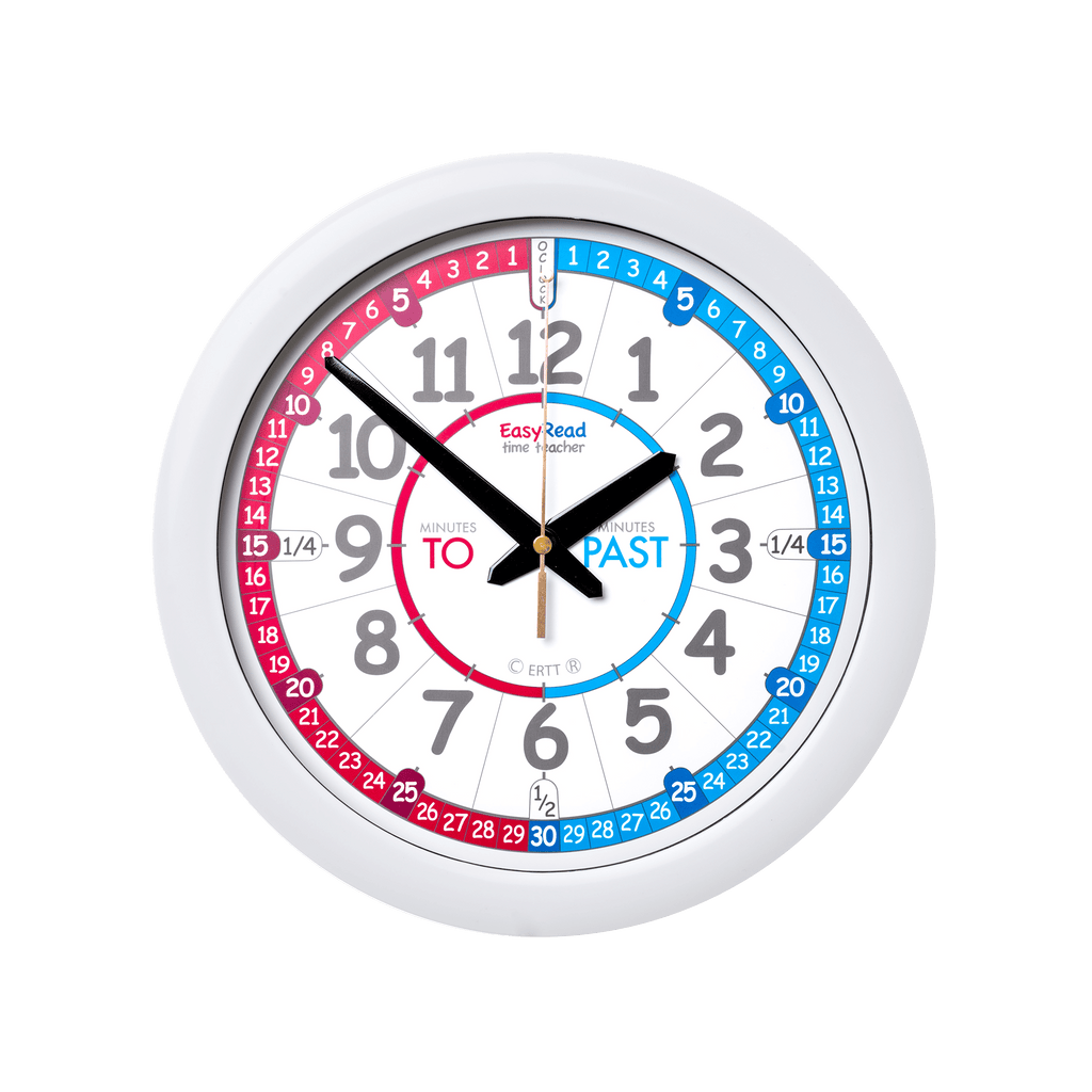 Easyread Time Teacher Wall Clock Red Blue Past Amp To Face
