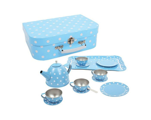 BigJigs - Blue Tin Polka Dot Tea Set