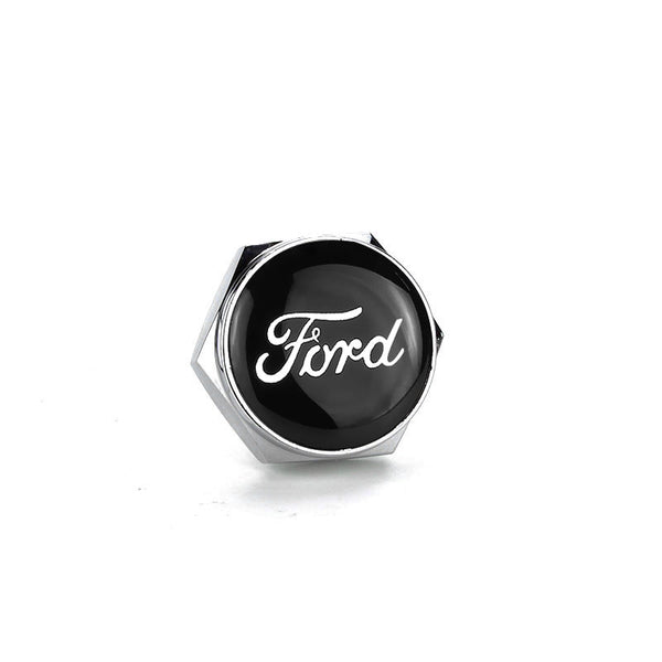 Ford Black Logo Silver License Plate Bolts - MyValveCaps
