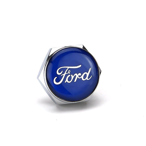 Ford Blue Logo Silver License Plate Bolts - MyValveCaps