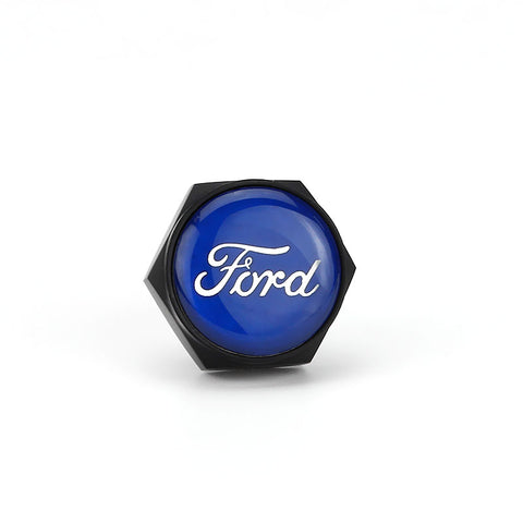 Ford Blue Logo Black License Plate Bolts - MyValveCaps
