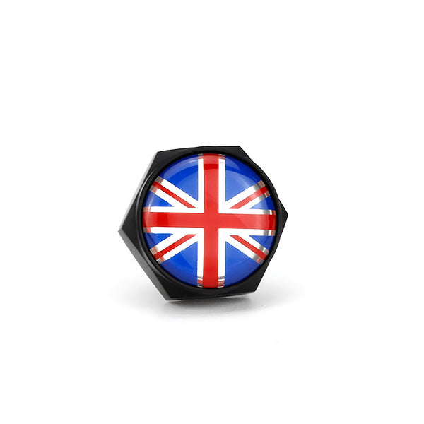 Union Jack Black License Plate Bolts - MyValveCaps