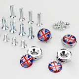 Union Jack Silver License Plate Bolts - MyValveCaps