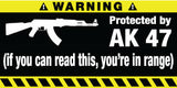 Protected By AK 47 Bumper Stickers Set of 2 - MyValveCaps