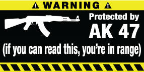 Protected By AK 47 Bumper Stickers Set of 2
