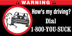 Dial 1-800 You Suck Bumper Stickers Set of 2