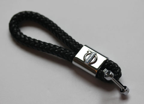 Volvo Leather Chrome Keychain With 3 Color Choices