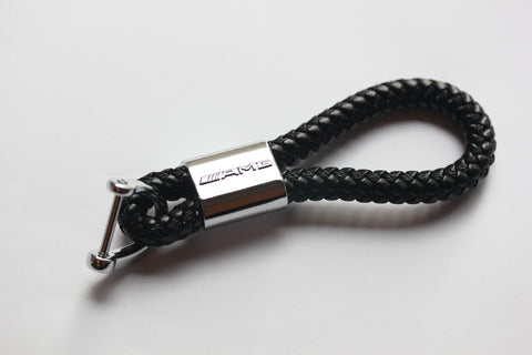 AMG Leather Chrome Keychain With 3 Color Choices - MyValveCaps