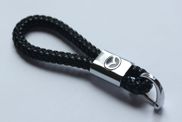 Mazda Leather Chrome Keychain With 3 Color Choices - MyValveCaps
