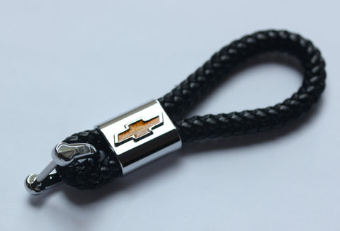 Chevrolet Leather Chrome Keychain With 3 Color Choices - MyValveCaps